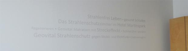 Wandbeschriftung im GEOVITAL Zimmer vom Hotel Martinspark